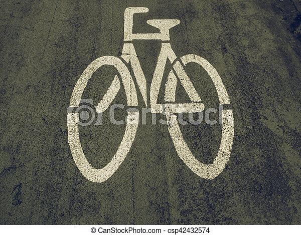 Vintage looking Bike lane sign - csp42432574