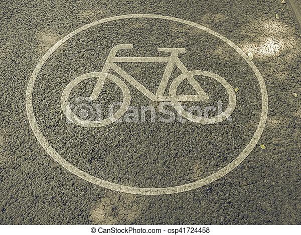 Vintage looking Bike lane sign - csp41724458