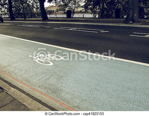 Vintage looking Bike lane sign - csp41823153