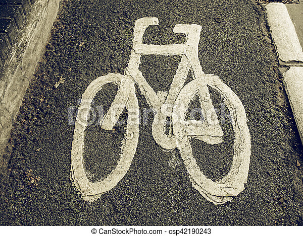 Vintage looking Bike lane sign - csp42190243
