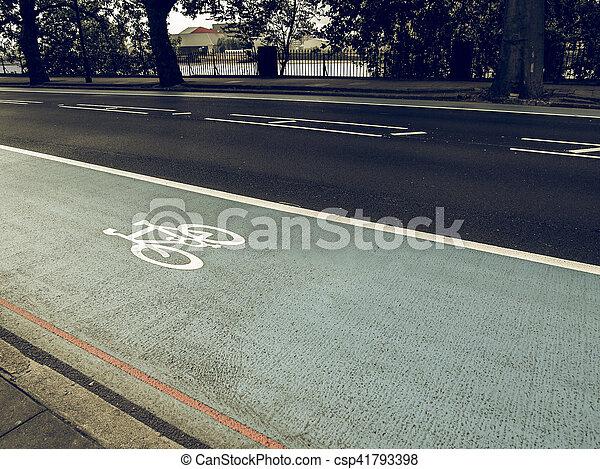 Vintage looking Bike lane sign - csp41793398