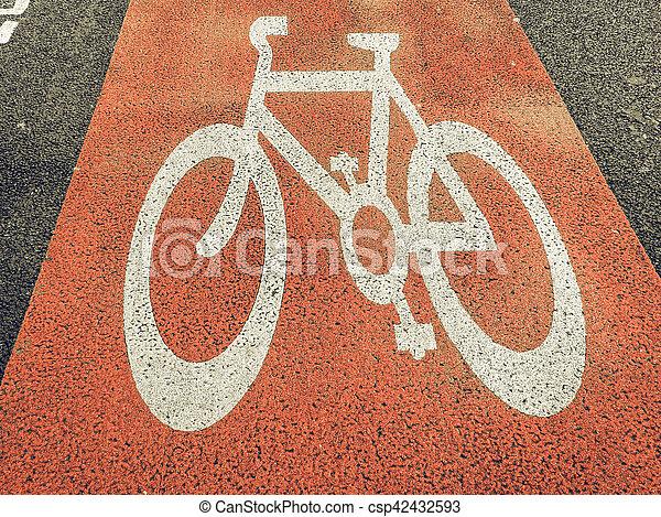 Vintage looking Bike lane sign - csp42432593