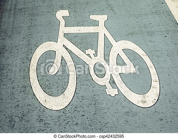 Vintage looking Bike lane sign - csp42432595