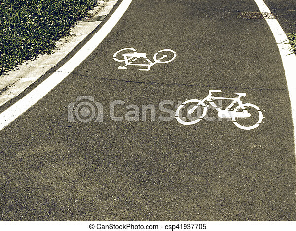 Vintage looking Bike lane sign - csp41937705
