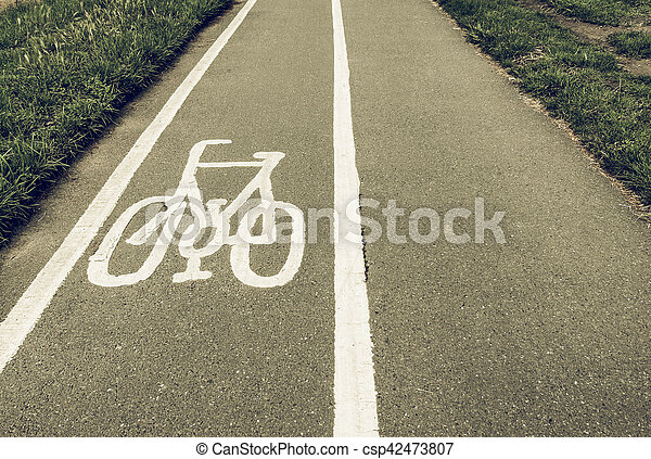 Vintage looking Bike lane sign - csp42473807
