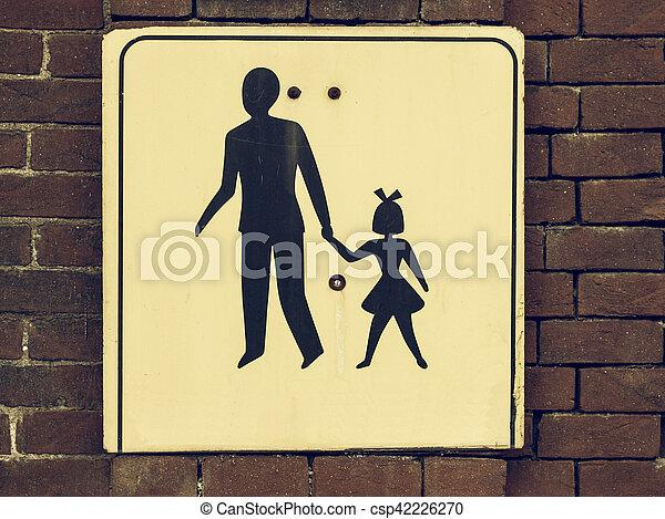 Vintage looking Pedestrian area sign - csp42226270