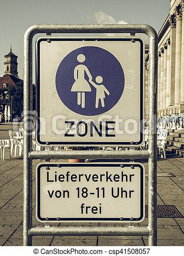 Vintage looking Pedestrian area sign - csp41508057