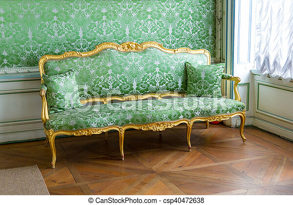 Vintage Luxury Green Sofa Near Window