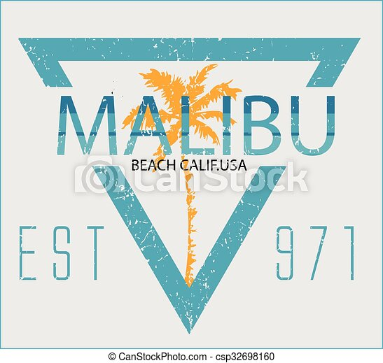 Vintage Malibu Beach Sport Typography T Shirt Graphic Vector Illustration