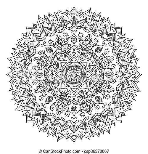 Vintage Mandala. Vector Round Ornament Tribal Pattern - csp36370867