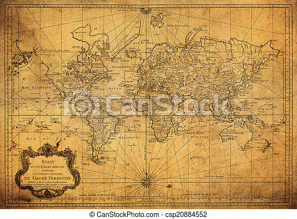 vintage map of the world 1778 - csp20884552