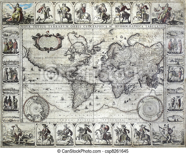 Vintage map of the world - csp8261645