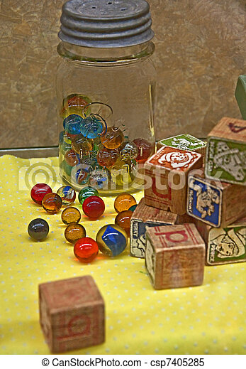 Vintage Marble and Block Toys - csp7405285