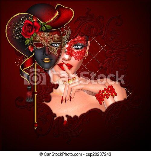 Vintage Masquerade Scene. - csp20207243