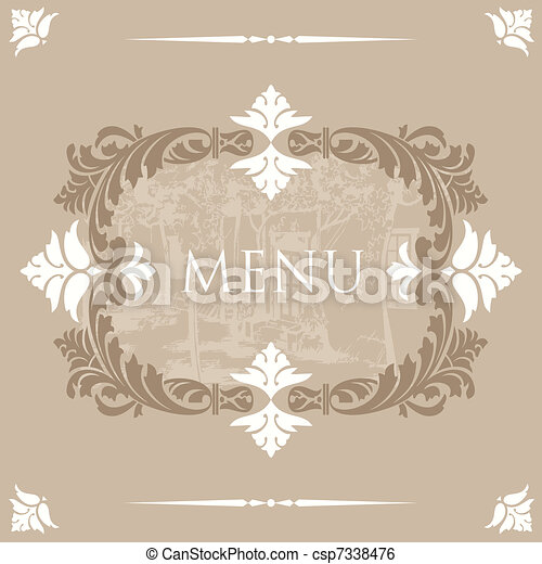 Vintage Menu Cover Design - csp7338476