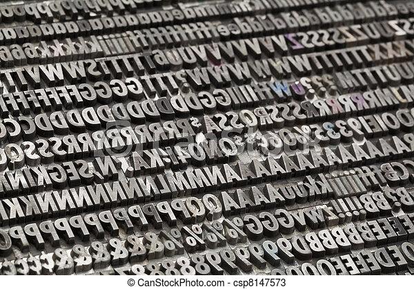 vintage metal letters and numbers - csp8147573