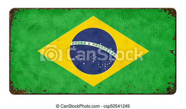 Vintage metal sign on a white background - Flag of Brazil - csp50541249