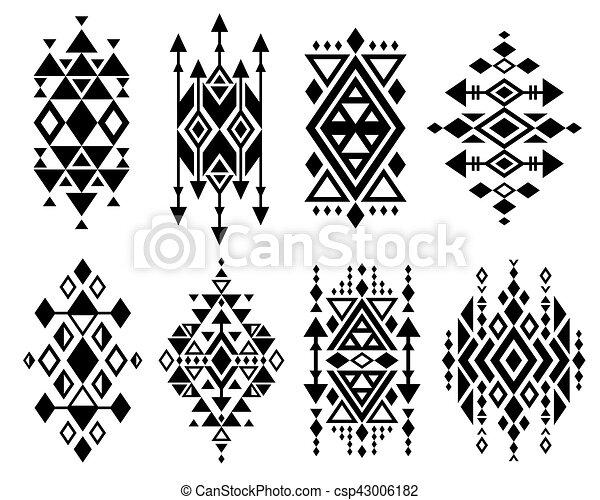 navajo border designs. Vintage Mexican Aztec Tribal Traditional Vector Logo Design, Navajo Prints Set Border Designs T