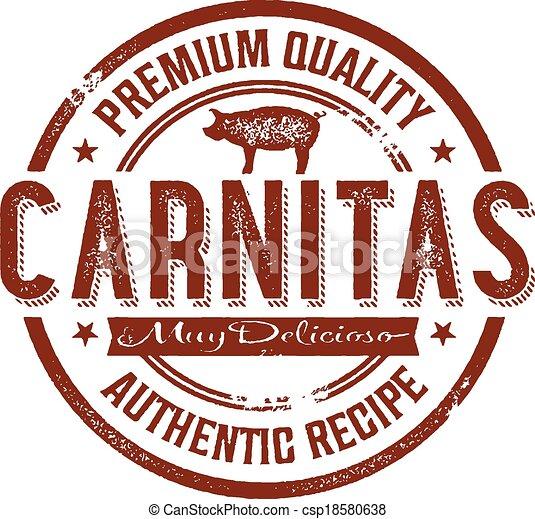 Vintage Mexican Carnitas Pork Stamp - csp18580638