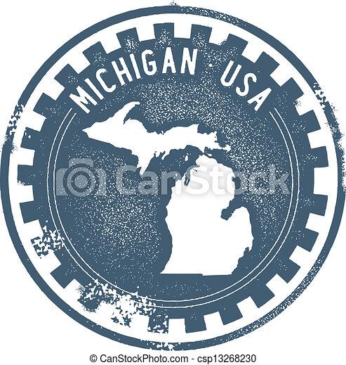 Vintage Michigan USA State Stamp - csp13268230