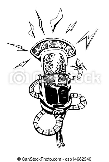 Vintage Microphone Eps Vector Search Clip Art