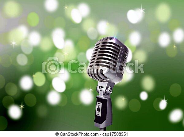 2e0b1f4c9f208 Vintage microphone with blur lights.