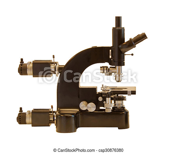 Vintage Microscope, advanced model, side view - csp30876380