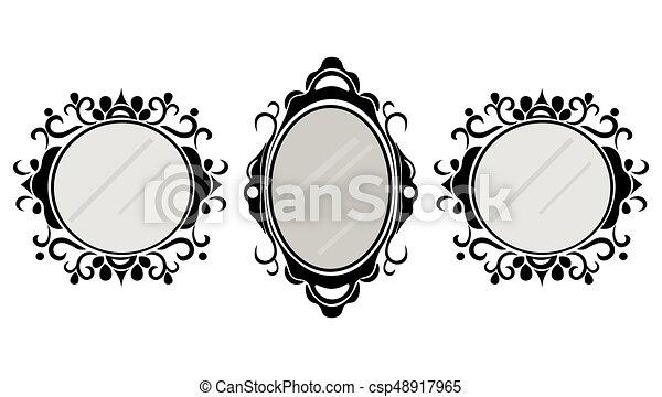 vintage mirror frames set vector collection of round and square