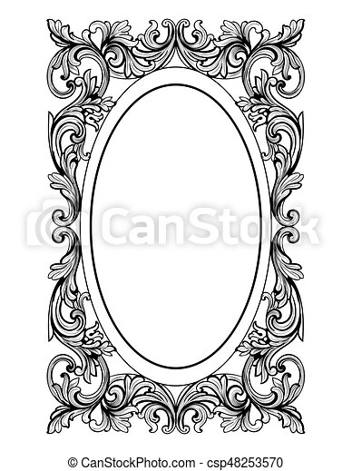 Vintage Mirror Oval Frame Vector French Luxury Rich Intricate