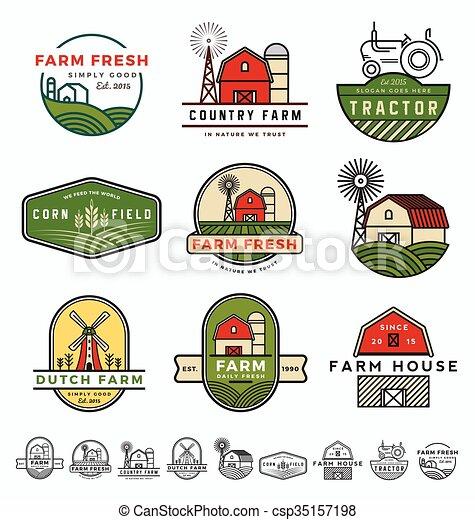 Vintage modern farm logo template design. vector illustration.
