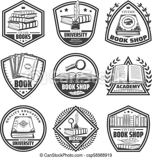 Vintage Monochrome Bookstore Labels Set - csp58988919