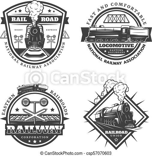 Vintage Monochrome Retro Train Emblems Set - csp57070603