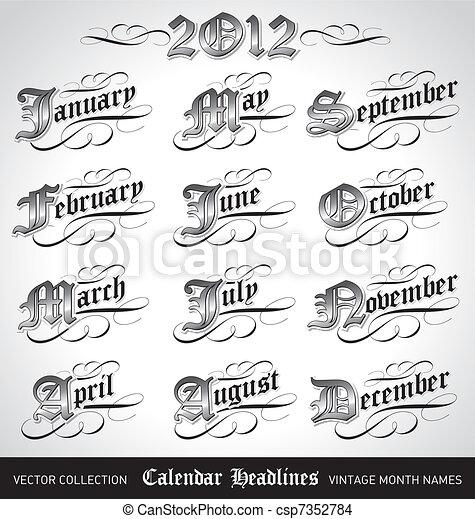 vintage month titles (vector) - csp7352784