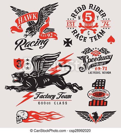 Vintage motor racing graphic set - csp28992020