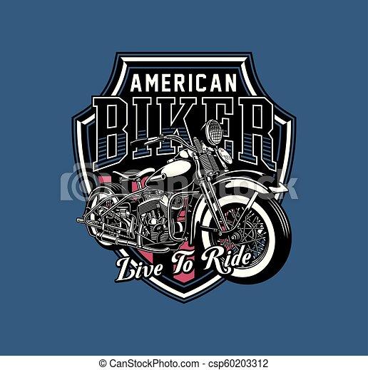 Vintage Motorcycle Emblem Fully Editable Vector Illustration Of