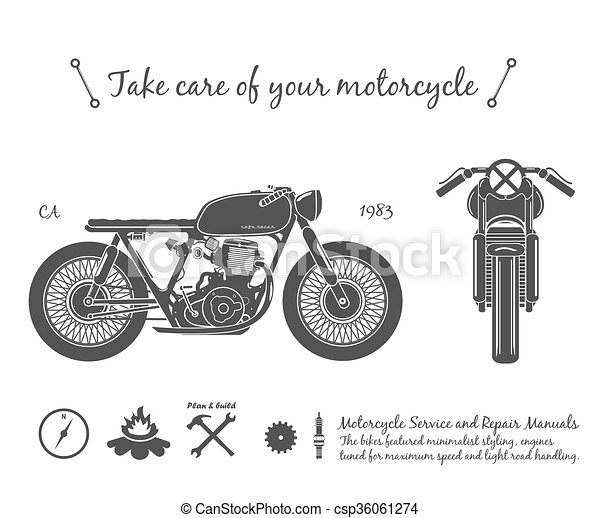 Vintage Motorcycle Infographic Cafe Racer Theme Old Vintage