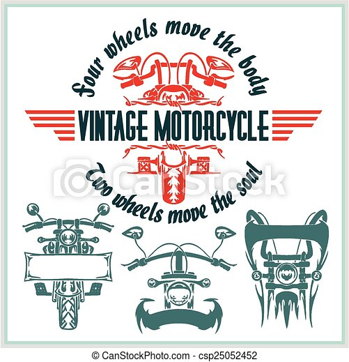 Vintage motorcycle labels, badges and design elements - vector set. - csp25052452