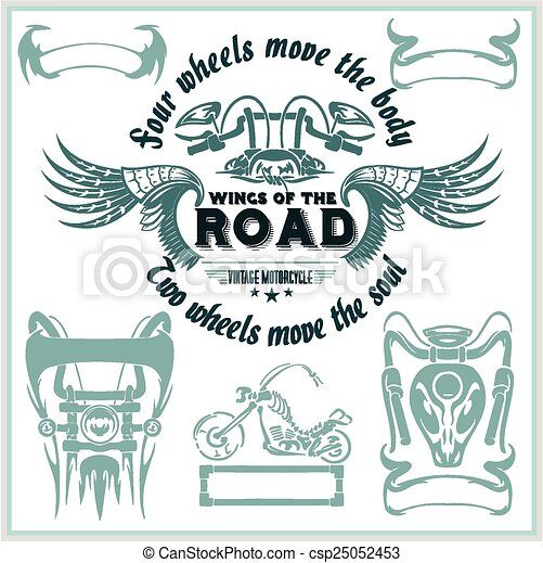 Vintage motorcycle labels, badges and design elements - vector set. - csp25052453