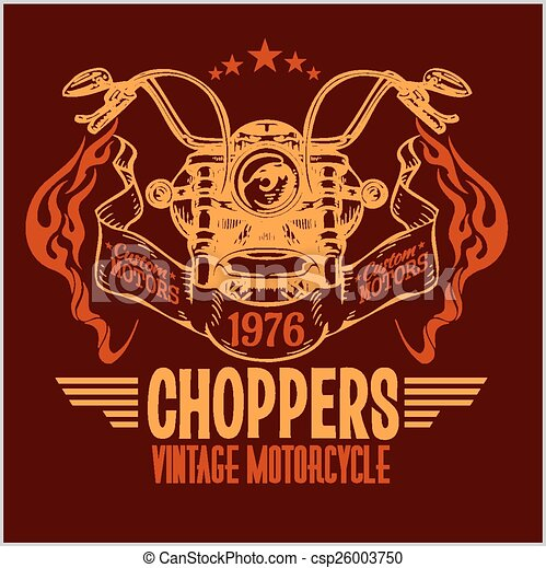 Vintage motorcycle labels, badges and design elements - vector set. - csp26003750