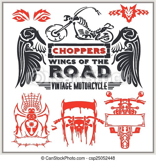 Vintage motorcycle labels, badges and design elements - vector set. - csp25052448