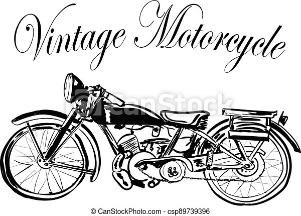 vintage motorcycle on a white background - csp89739396
