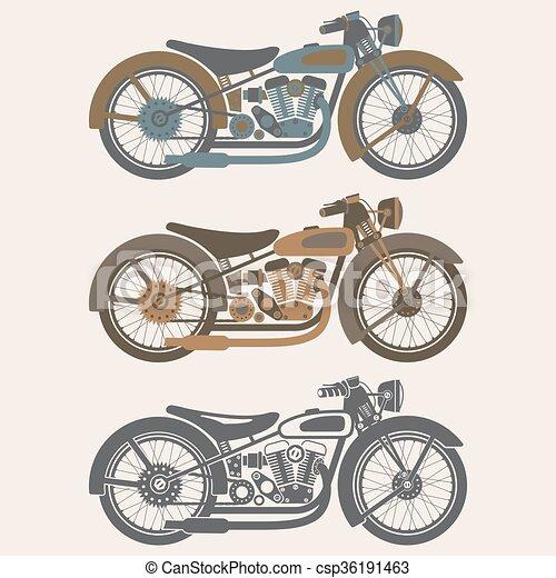 vintage motorcycle set graphic vector design template - csp36191463