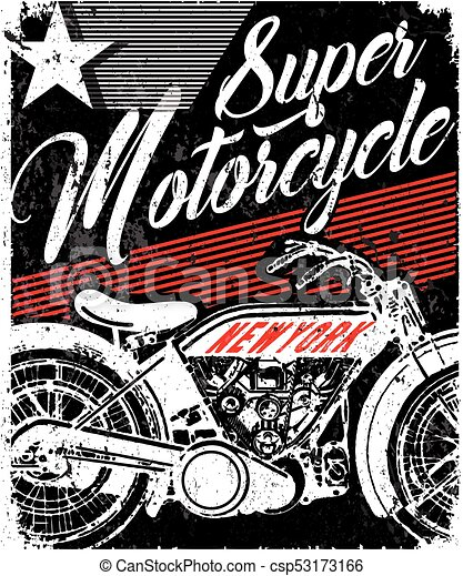 Vintage Motorcycle T Shirt Graphic