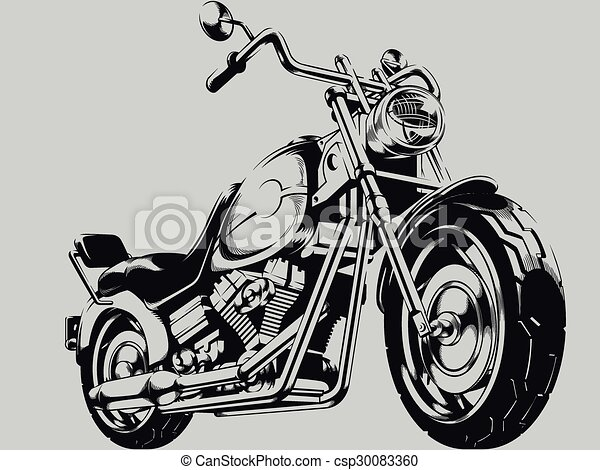 Vintage motorcycle vector silhouette. A vector image of a ...