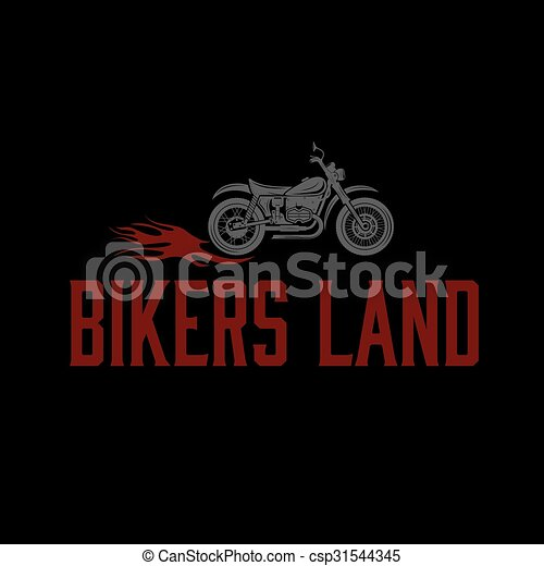 vintage motorcycle with flames graphic vector design template - csp31544345