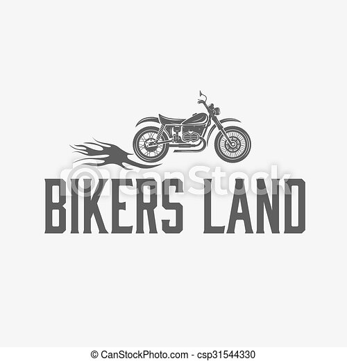 vintage motorcycle with flames graphic vector design template - csp31544330