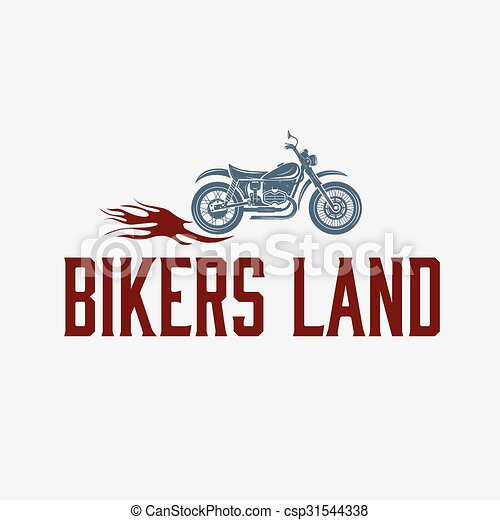 vintage motorcycle with flames graphic vector design template - csp31544338