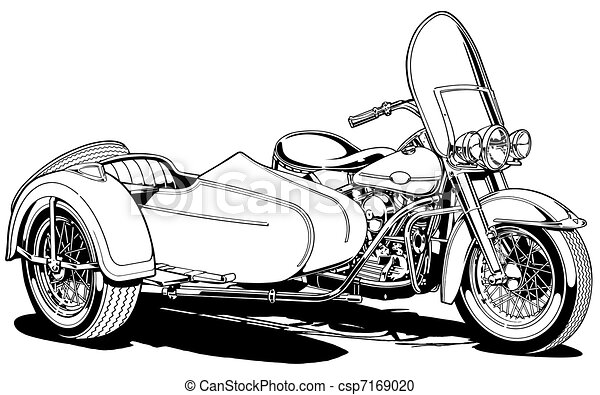 Line Drawing Car : Vintage motorcycle with side car. black line illustration stock