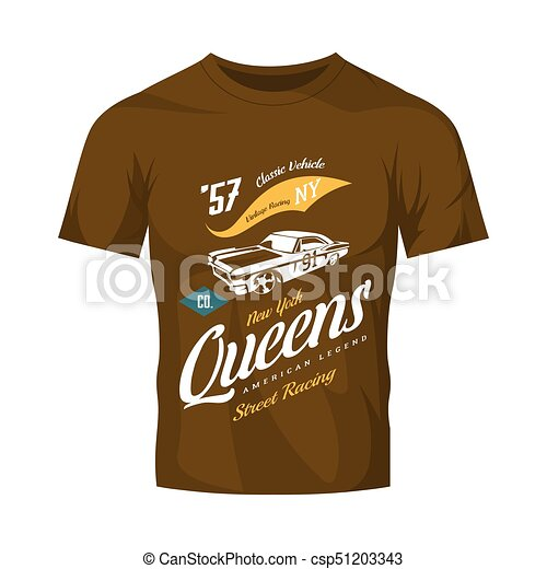 a77c056ad Vintage muscle car vector logo isolated on brown t-shirt mock up. premium  quality old sport vehicle logotype t-shirt emblem illustration. queens, ...