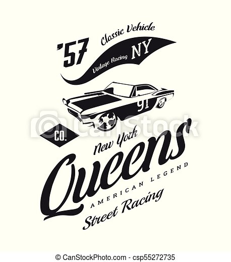 c93fc806 Vintage muscle car vector logo isolated on white background. premium  quality old sport vehicle logotype t-shirt emblem illustration. queens, new  york street ...